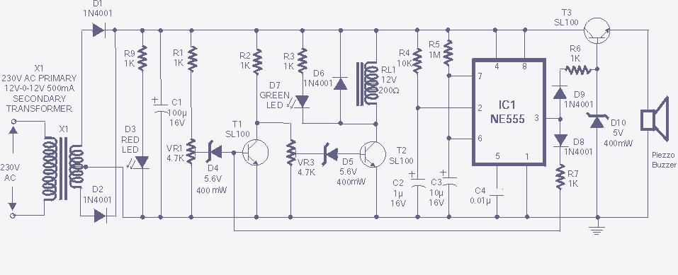 High-Low voltage cut-off with delay and alarm with circuit diagram