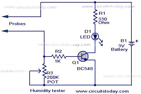 Humidity Tester Circuit Using Sensor - schematic