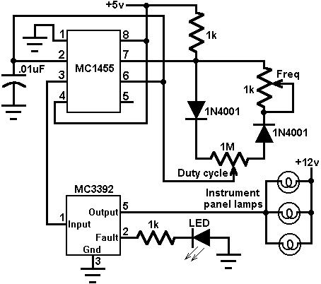 instrument panel lamp dimmer control