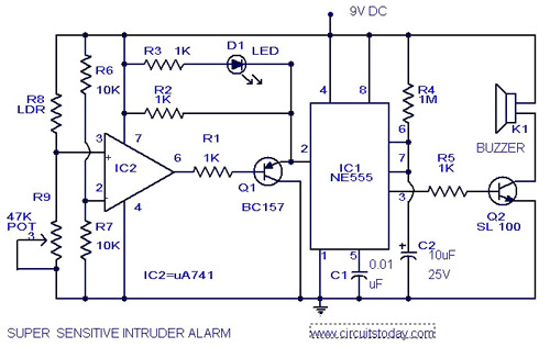 Sensitive Intruder AlarmCircuit Using 555 IC And 741 IC L37284 on 741 non inverting op amp circuit