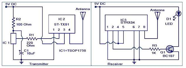 IR to RF converter circuit - schematic