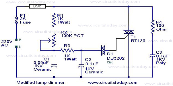 Light Dimmer Circuit TRIAC dimmer circuitCircuitWorking