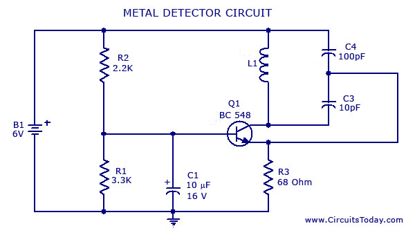 Metal Detector Circuit with Diagram and Schematic - schematic
