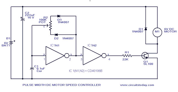 Circuits Pwm Motor Speed Control Circuit With Diagram