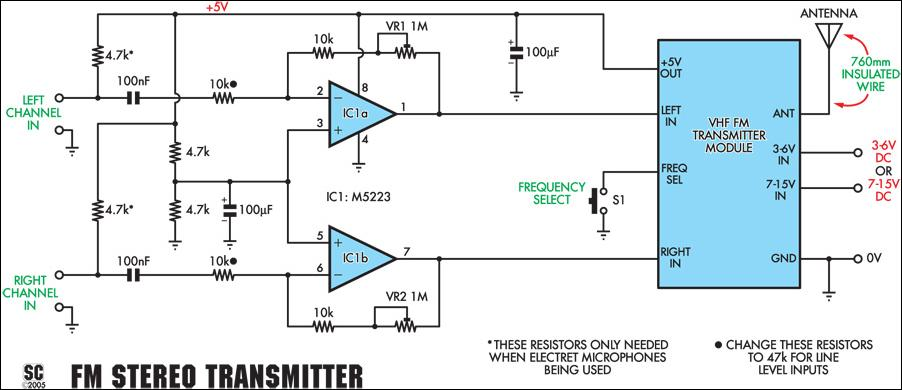 quality stereo wireless microphone or audio link - schematic