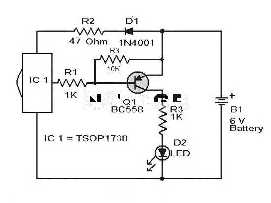 Remote Control Tester Circuit using Infra red sensor IC TSOP 1738 - schematic