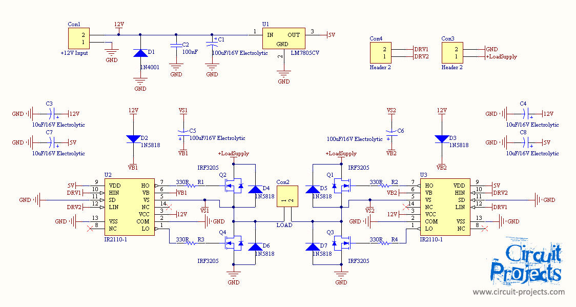 Full Bridge Inverter with MOSFET and IR2110 gate driver - schematic