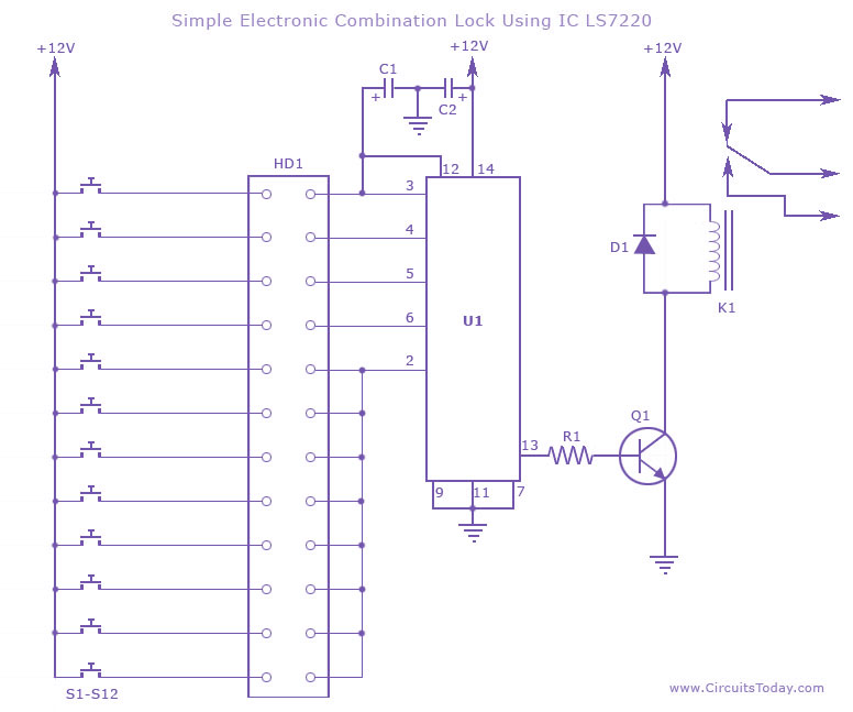 Electronic Combination Lock Circuit using IC LS 7220 - schematic