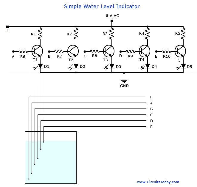 Water Level Indicator Circuit-Liquid Level Sensor Project - schematic