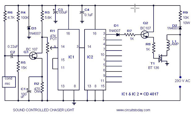 Musical Light Chaser Circuit with Diagram using IC CD4016 - schematic