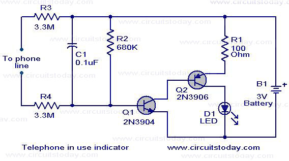 Telephone off-hook indicator - schematic