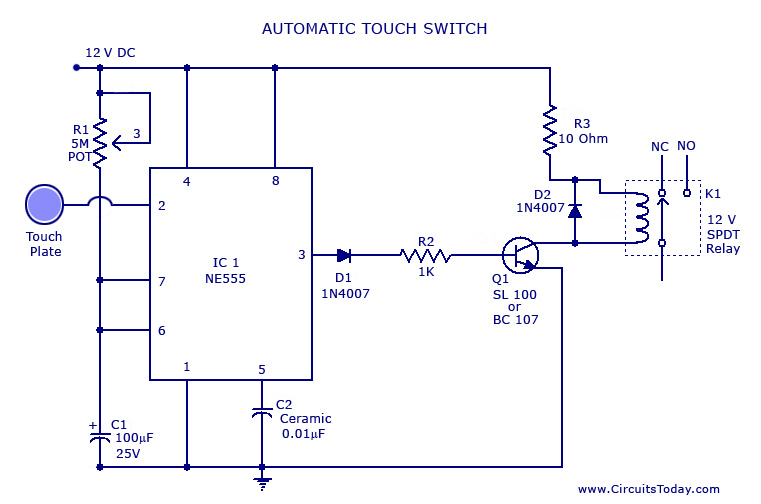 gt  circuits  gt  touch switchcircuit using ne 555 ic l37308 touch and glow photoelectric switch wiring diagram touch lamp switch wiring diagram