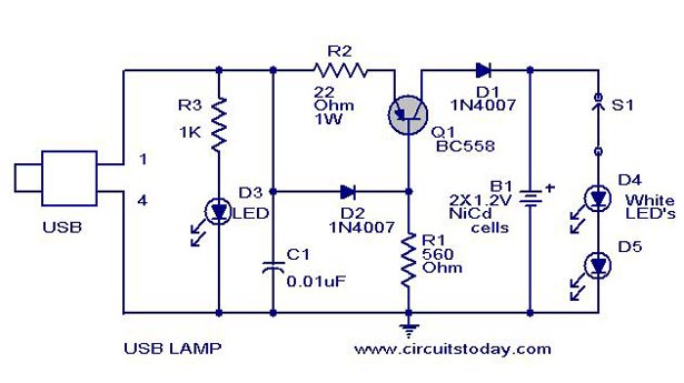 Usb Led Lamp Circuit Using 5 Volts Under Repository