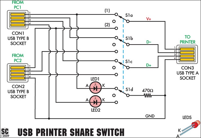 usb printer share switch circuit project