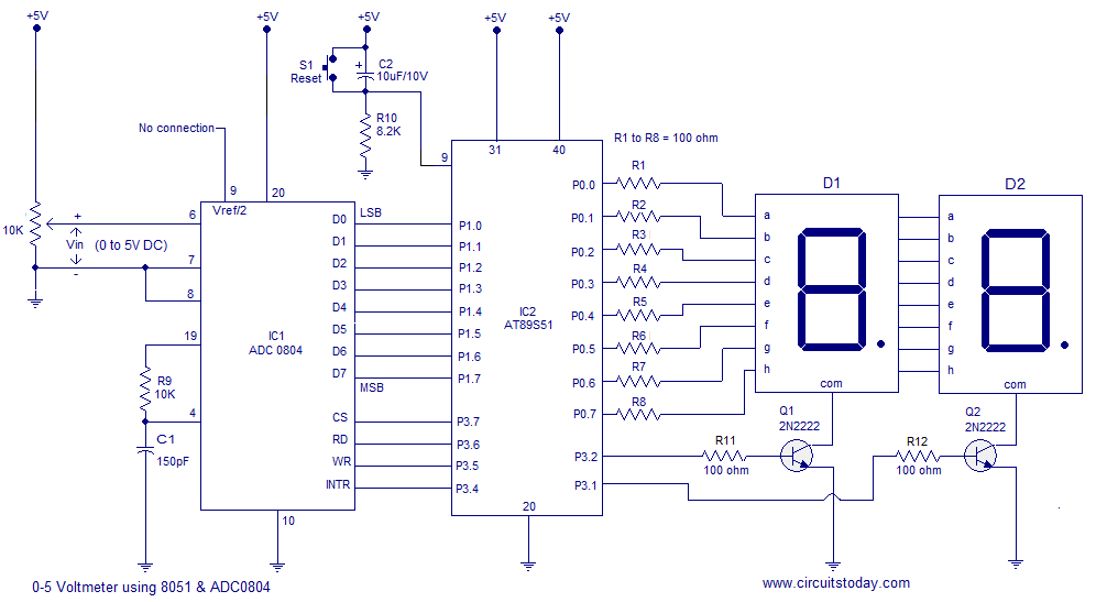 Digital voltmeter using 8051 microcontroller AT89S51 with circuit diagram and software - schematic