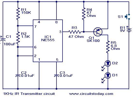 1KHz IR transmitter circuit - schematic
