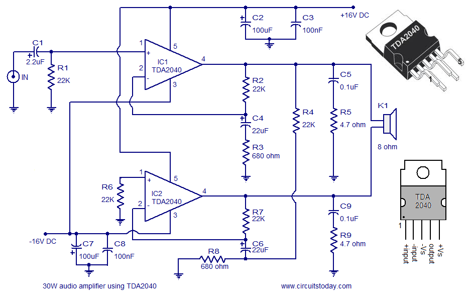Audio AmplifierCircuit - 30 Watts
