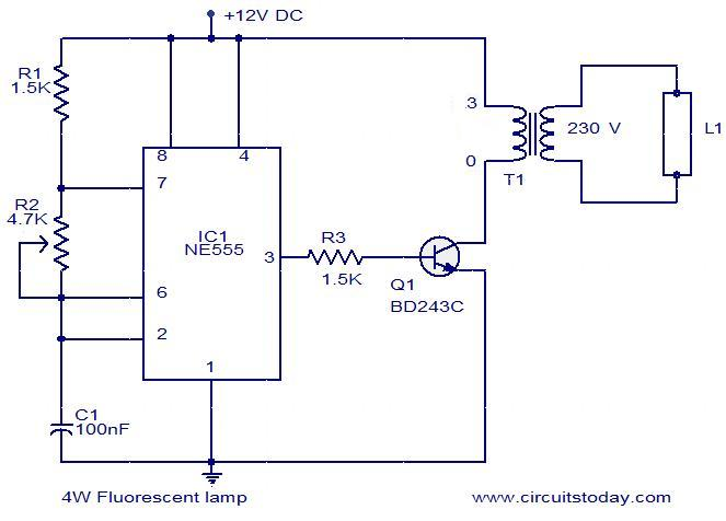 4W Fluorescent lamp driver - schematic