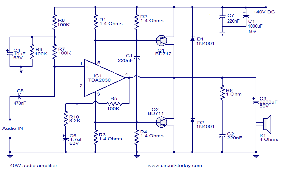 40W audio amplifier