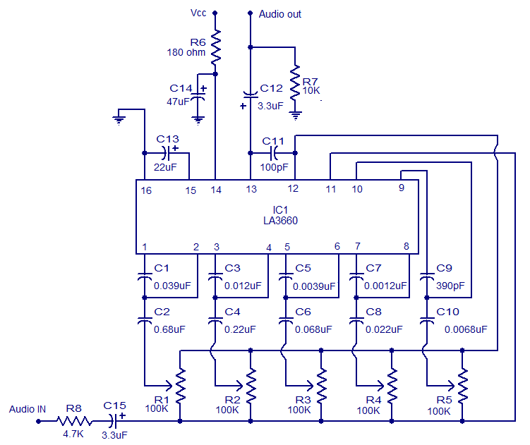 5 band graphic equalizer using LA3600 - schematic
