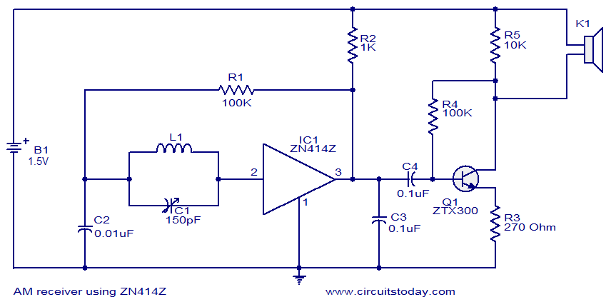 AM receiver using ZN414