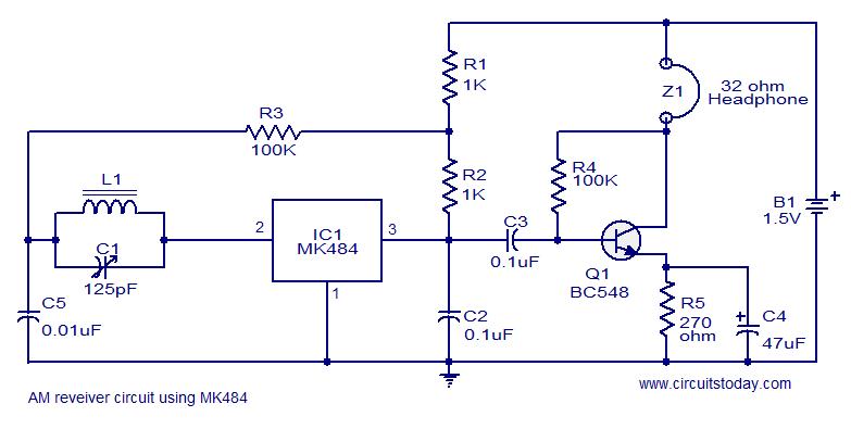 MK484 AM receiver circuit - schematic