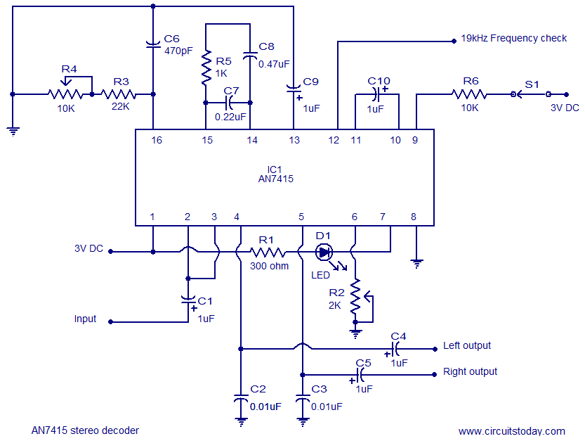 FM stereo demodulator circuit based on AN7415. 3V operation good channel seperation