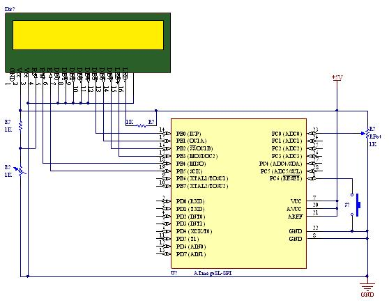 Tutorial on using ADC (Analog to Digital converter) unit of AVR micro controller - schematic