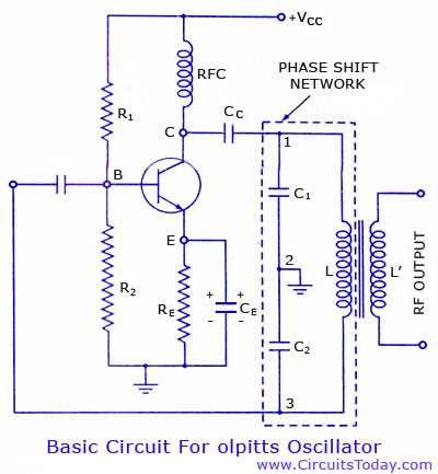 Colpitts oscillator using transistor. Circuit diagram and theory - schematic