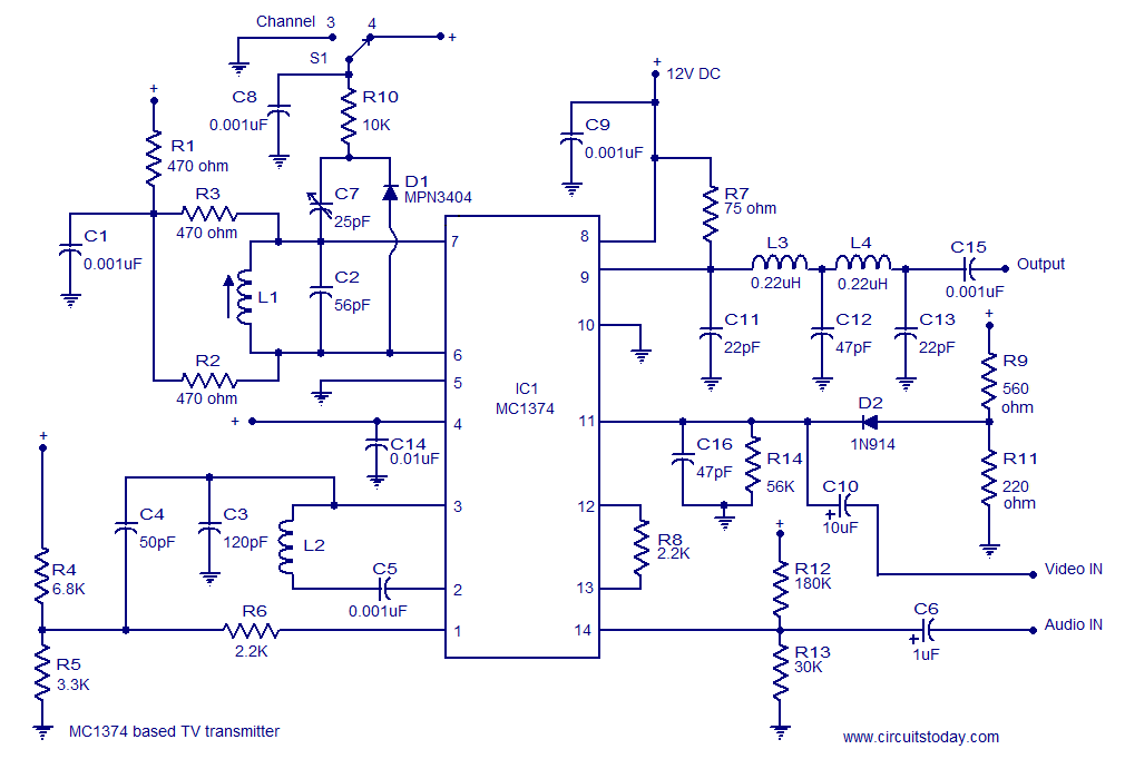 MC1374 TV transmitter circuit - schematic