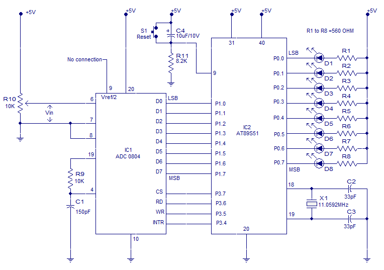 ADC to 8051 - schematic