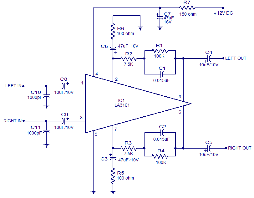 LA3161 Stereo Preamplifier for car stereo 12V operation - schematic
