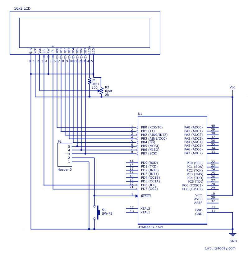 LCD Interfacing with AVR-Atmega8 and Atmega32 - schematic