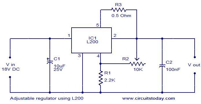 gt  circuits  gt  adjustable regulator using l200 l36983 next gr