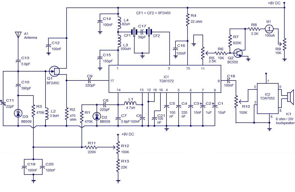 AM radio circuit based on TDA1572. 9V operation2W output - schematic