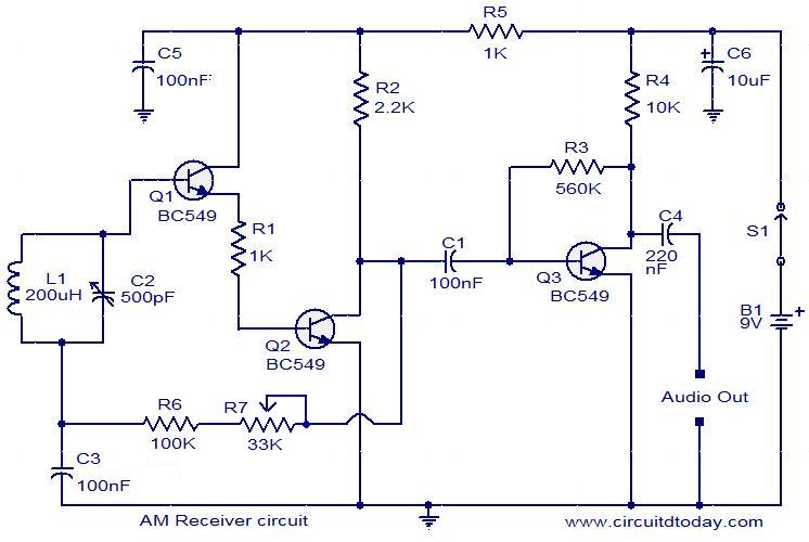 Circuit diagram of a modulator circuit in a transmitter and receiver of a amplitude modulation - schematic