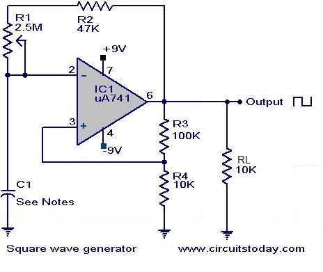 Square wave generator using uA 741 - schematic