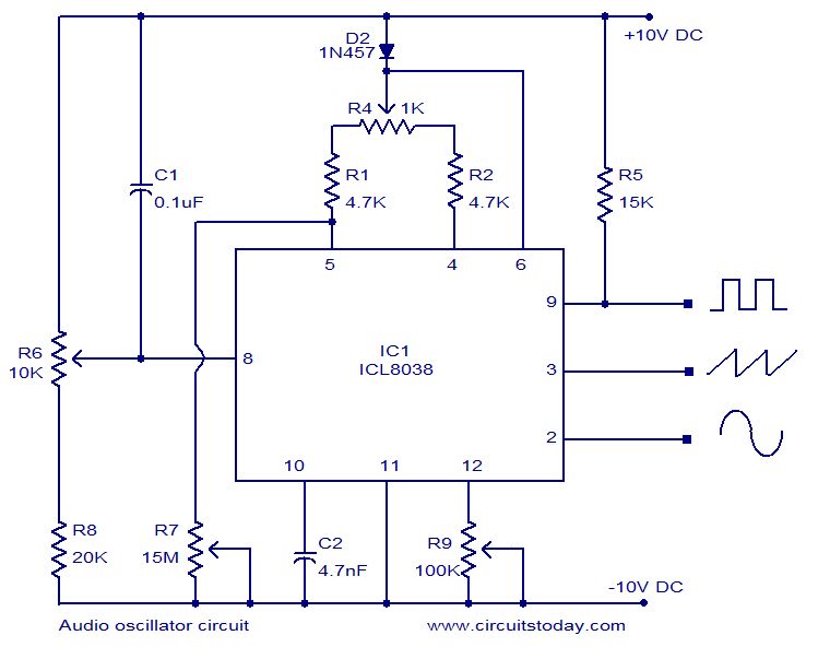 Audio oscillator circuit based on ICL8038 - schematic