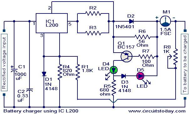Battery charger circuit using L200 - schematic.
