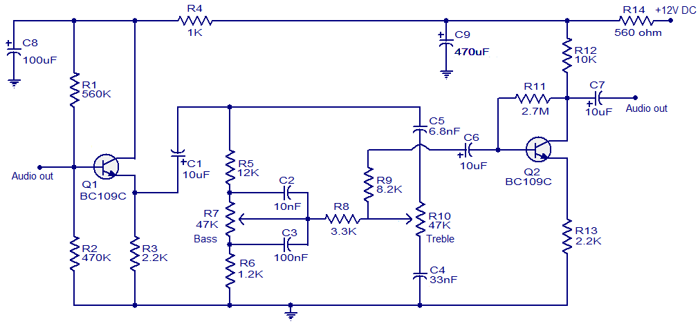 Baxendall tone control circuit - schematic