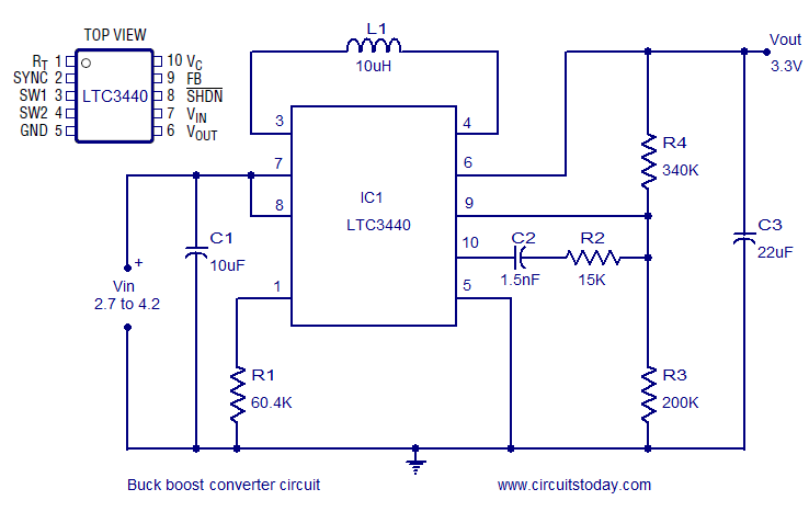 Buck Boost converter using LTC3440 for an output voltage of 3.3 volts