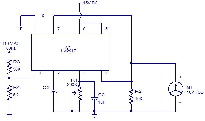 circuits \u003e capacitance meter using lm2917 l37022 next grcapacitance meter using lm2917 schematic