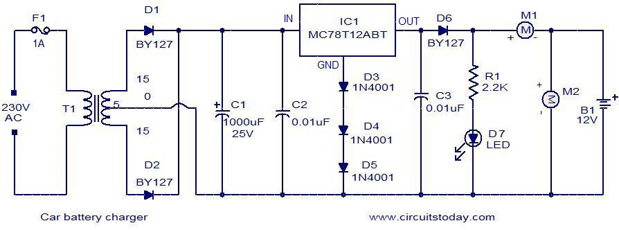 Car Battery Charger L37023 on 12v voltage regulator circuit