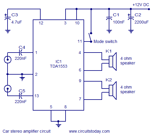 Car Stereo Amplifier Diagram and Schematics using TDA1553 IC - schematic