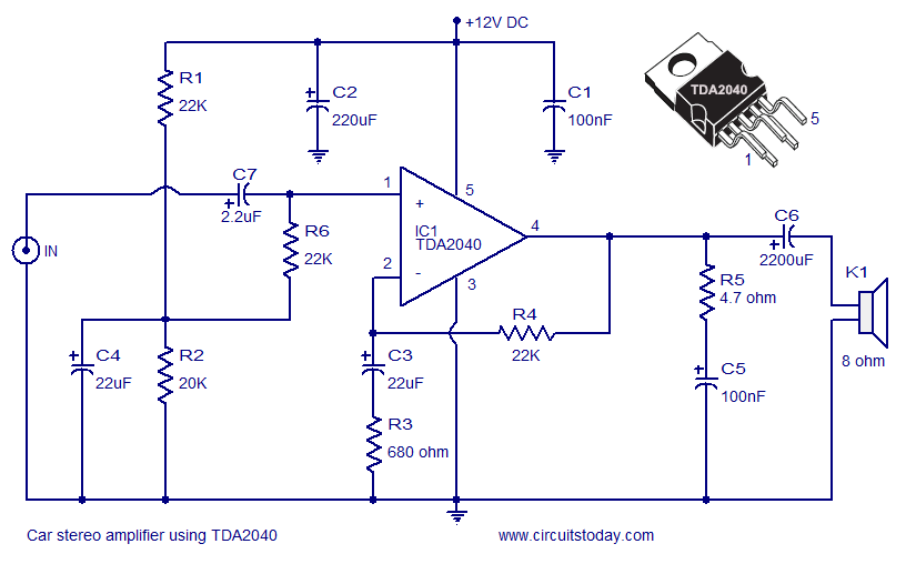 circuits   Car    Amplifier       Circuit    Schematic using TDA2040
