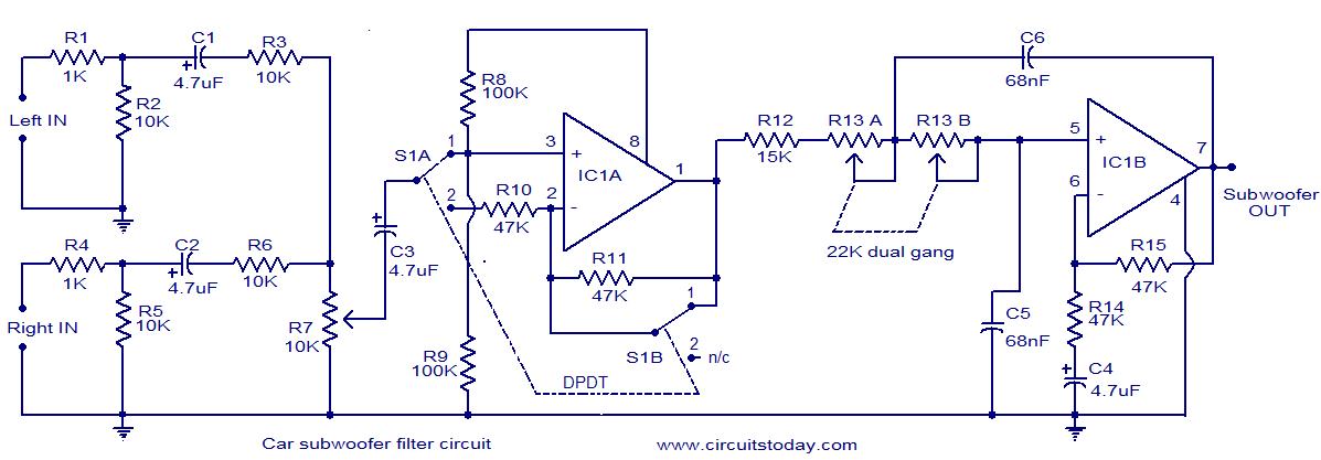 Car subwoofer filter - schematic