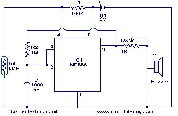 Dark detector circuit - schematic