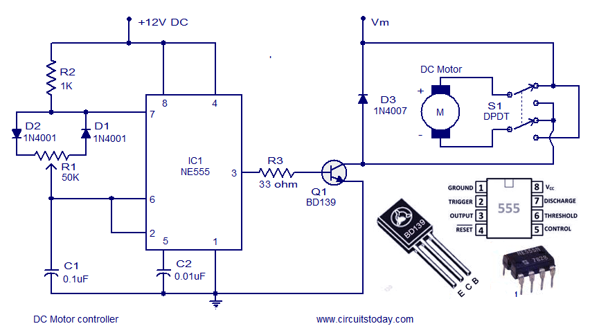 Circuits Dc Motor Speed Controller Circuit Using Ne555