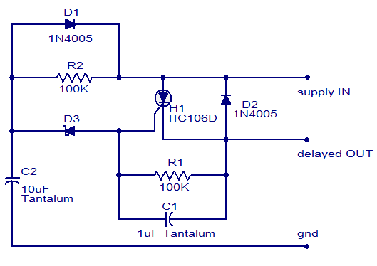 Simple DC power delay circuit