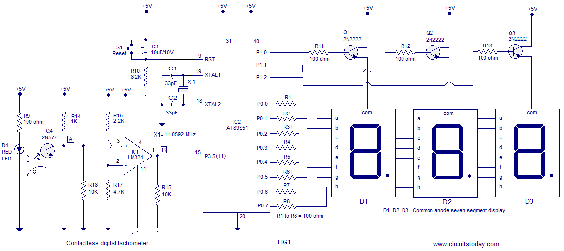 Digital tachometer using 8051 - schematic